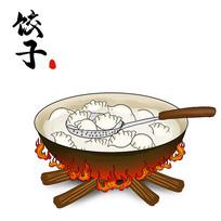 手绘铁锅煮饺子插画冬至水饺素材