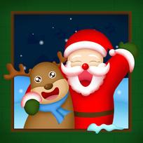 原创开心的圣诞老人与麋鹿
