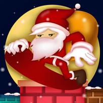 原创玩滑板帅气的圣诞老人