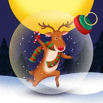 原创元素圣诞麋鹿水晶球