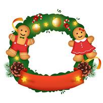 原创元素手绘圣诞节花环