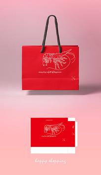 高档红色简约龙虾打包手提袋