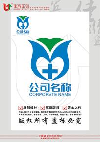 杏叶医药十字双手花朵图形标志LOGO设计