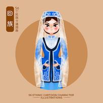 原创56个民族人物插画-回族