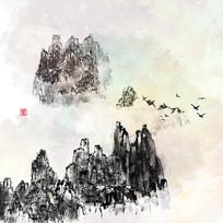 云雾水墨画泼墨画