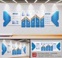 简约蓝色大型企业立体文化墙