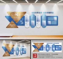 蓝色大型企业发展历程文化墙