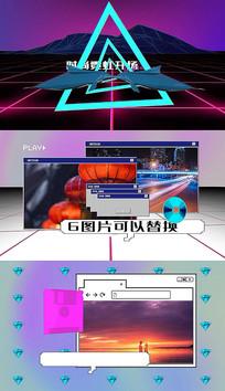 时尚霓虹灯复古网页宣传开场片头pr模板