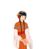 手绘创意京剧人物插画元素