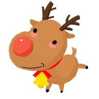 手绘卡通圣诞节小鹿插画元素