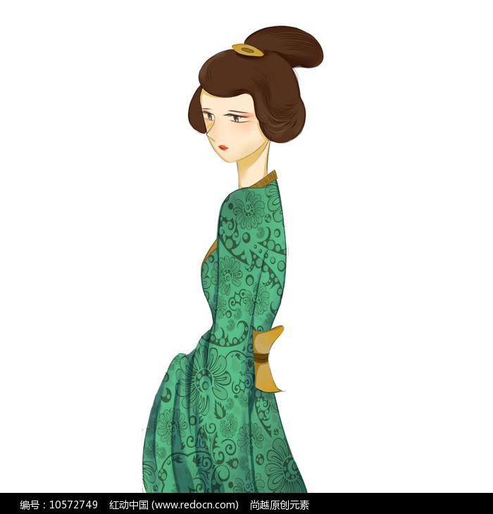 手绘唯美古装美女人物插画元素图片