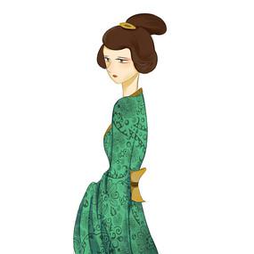 手绘唯美古装美女人物插画元素