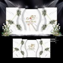 白绿色主题婚礼效果图设计小清新婚庆背景 PSD