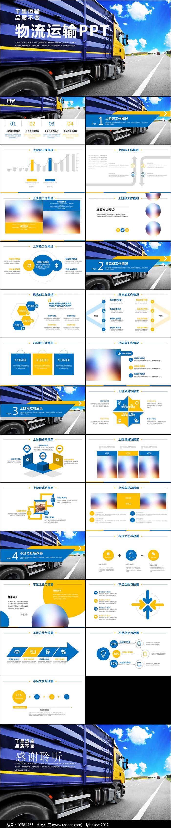 外贸货运物流运输配送快递PPT模板图片