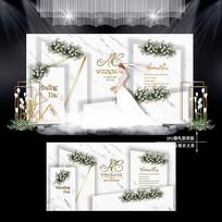白绿色主题婚礼效果图设计小清新婚庆舞台 PSD