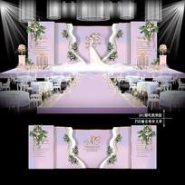 粉色主题婚礼迎宾区效果图设计婚庆舞台背景 PSD