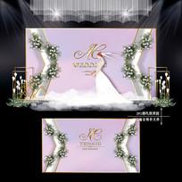 浅紫色婚礼效果图设计大理石纹婚庆舞台 PSD
