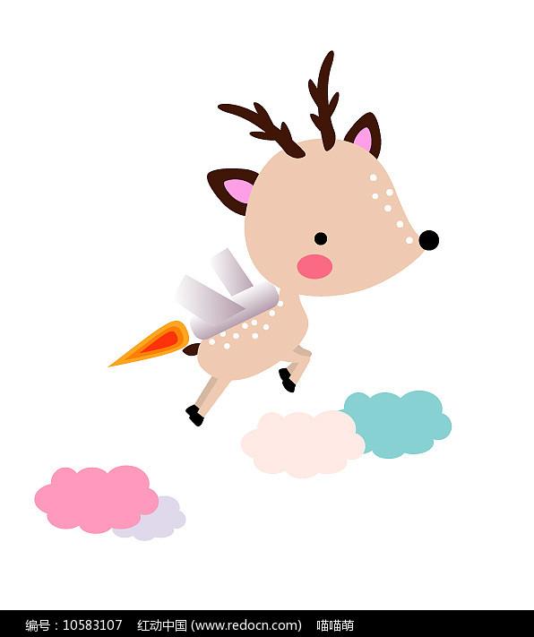 原创卡通可爱动物飞鹿矢量图片
