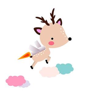 原创卡通可爱动物飞鹿矢量