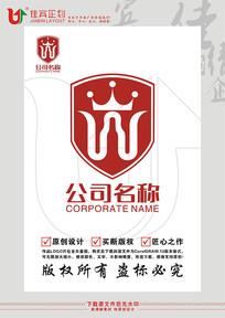 W英文字母红酒盾牌皇冠标志设计