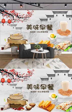 复古中国风美味早餐工装背景墙