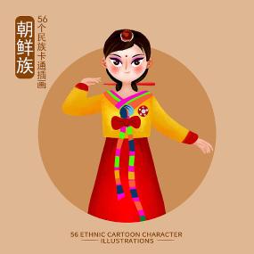 原创56个民族人物插画-朝鲜族 PSD