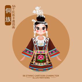 原创56个民族人物插画-侗族 PSD