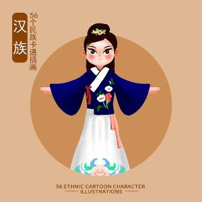 原创56个民族人物插画-汉族 PSD