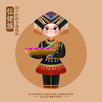 原创56个民族人物插画-仫佬族