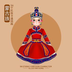 原创56个民族人物插画-蒙古族 PSD