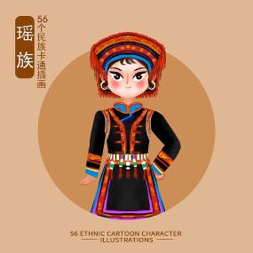 原创56个民族人物插画-瑶族 PSD
