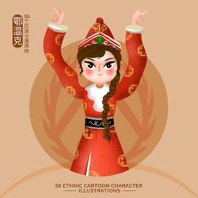 原创元素56个民族人物插画-鄂温克族 PSD