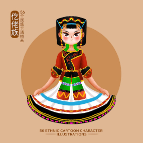 原创元素56个民族人物插画-仡佬族 PSD