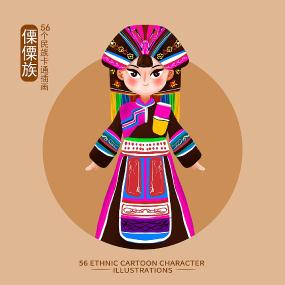 原创元素56个民族人物插画-傈僳族 PSD