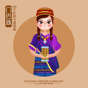 原创元素56个民族人物插画-门巴族 PSD