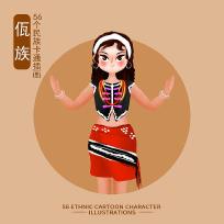 原创元素56个民族人物插画-佤族