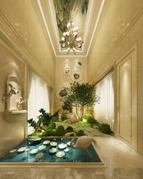 别墅酒店过道景观设计