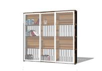 木质极简书架su模型