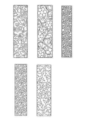 中式雕花花纹元素CAD