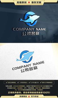 鲸鱼海豚标志LOGO设计