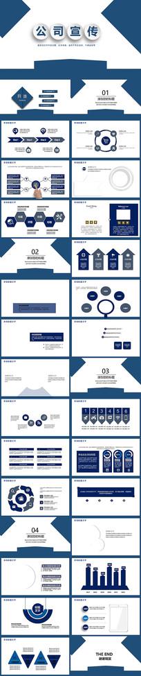 蓝色简约公司宣传PPT模板
