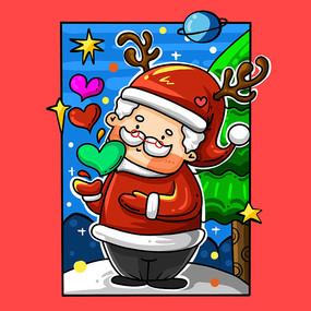 原创圣诞老人插画 PSD