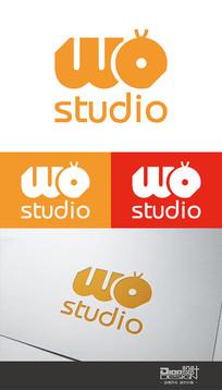 时尚大气WO工作室Logo设计