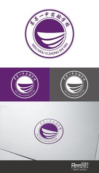 时尚紫色学校校徽Logo设计AI矢量图