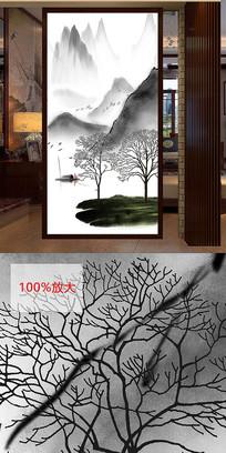 新中式山水水墨风景床头画玄关装饰画