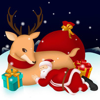 原创圣诞节靠着麋鹿睡觉的圣诞老人