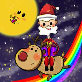原创圣诞节圣诞老人骑驯鹿发礼物