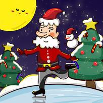 原创手绘圣诞节圣诞老人滑冰