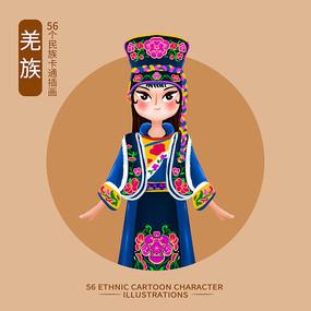原创元素56个民族人物插画 羌族 PSD