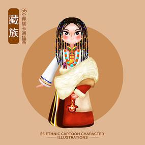 原创元素56个民族人物插画-羌族 藏族 PSD